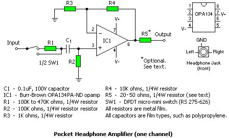 Pocket Headphone Amplifier.  http://gilmore2.chem.northwestern.edu/projects/cmoy2_prj.htm