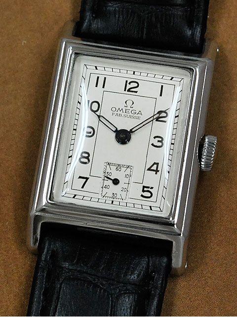 アンティーク、ビンテージの時計が気になる今日この頃。珍しいオメガのアンティーク レクタンギュラー手巻き時計を発見。意表をつくオメガのレクタン