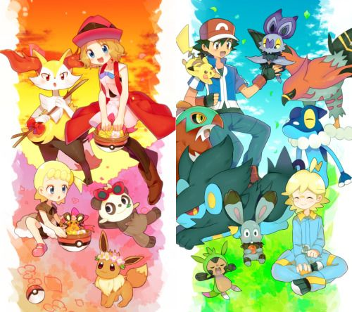 Ash Ketchum and Pikachu with their Kalos friends ^_^ ^.^ <3