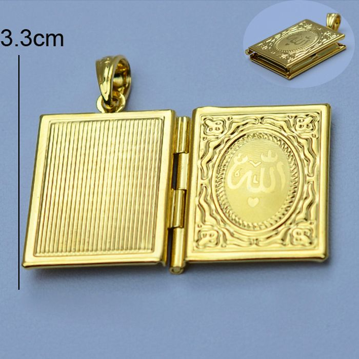 Allah Gold Box Necklacers for Women Muhammad Gold Plated DIY Keeping Photo Pendant Necklaces Muslim Islamic Gifts