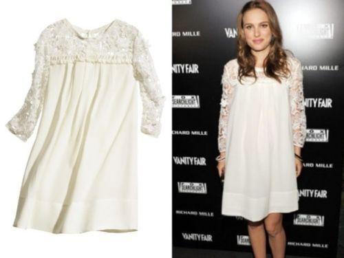 H-M-Conscious-Ivory-Smock-Dress-crochet-lace-sleeves-natalie-portman-size-10