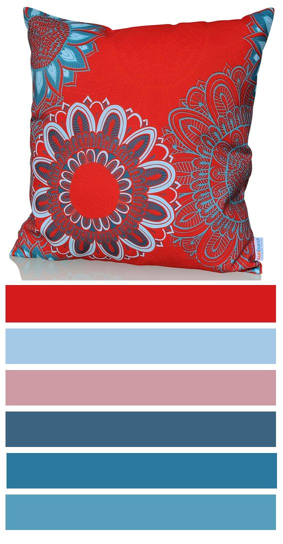 Sizzle cushion cover won't be left unnoticed! Bright red cushion cover design with light, creative teal blue pattern is perfect for your home! You can use it indoors, add it to your porch or use it in your patio. http://www.sunburstoutdoorliving.com/collections/online/products/sizzle-cushion-cover-60cm