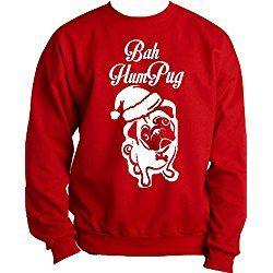 "Custom Kingdom Adult Mens ""Bah Humpug"" Humbug Pug Christmas Sweatshirt (XXXL, Red)"