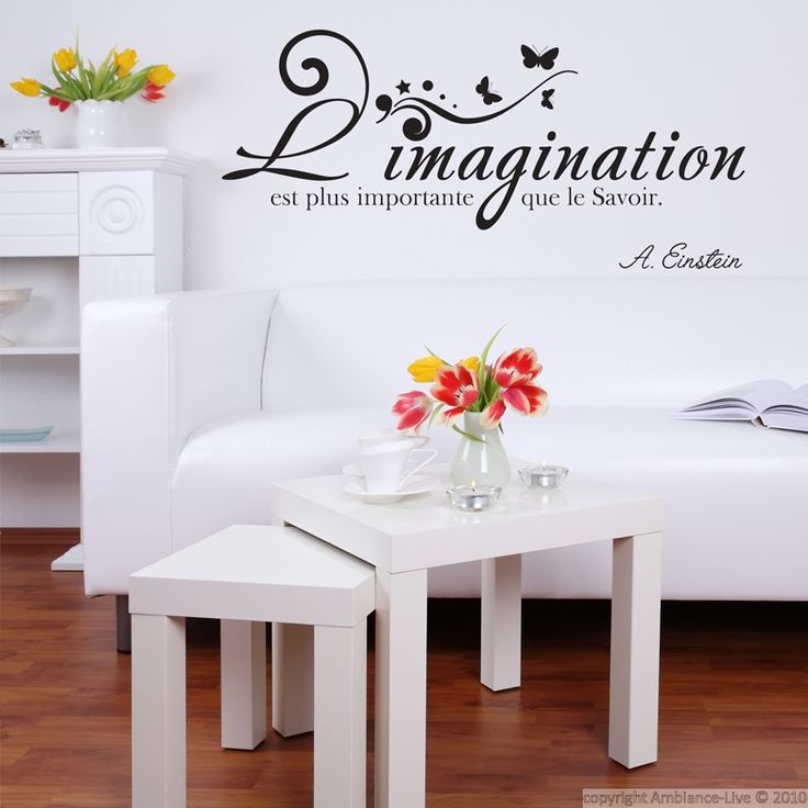 stickers muraux citations sticker l 39 imagination a einstein ambiance pinterest. Black Bedroom Furniture Sets. Home Design Ideas