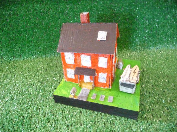 cardboard house on wood #2. $150