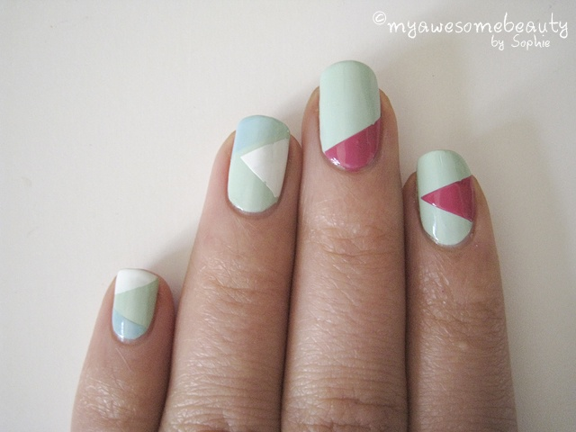 Geometric figures tutorial - i like the halfway point: Geometric Mani, Figures Tutorials, Nails Art, Triangles, Crazy Nails, Band Aid, Nails Idea, Geometric Figures