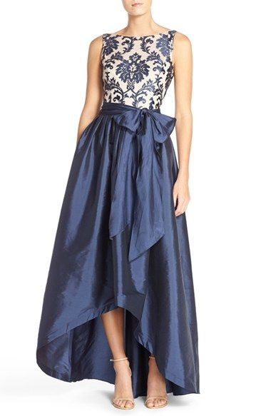 Free shipping and returns on Adrianna Papell Embroidered Lace & Taffeta Ballgown (Regular & Petite) at Nordstrom.com. Lavishly embroidered lace heightens the elegant aesthetic of a structured satin ballgown that cascades from the sash-nipped waistline to a dramatic high/low hem.