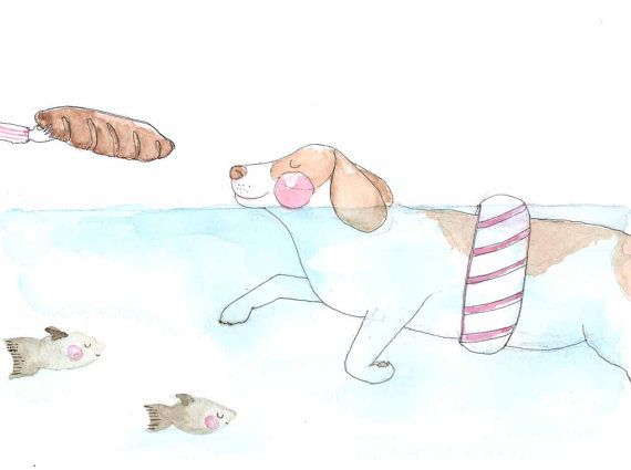 Original Illustration Swimming Doggy. Beagle. Bread. by Vianneart, NT$500.00