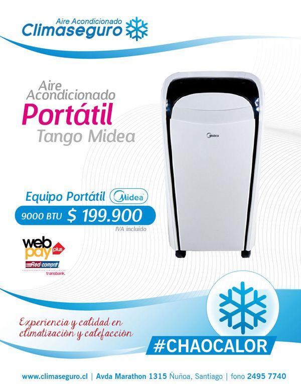 Aire Acondicionado Portatil Tango Midea 900 BTU www.climaseguro.cl