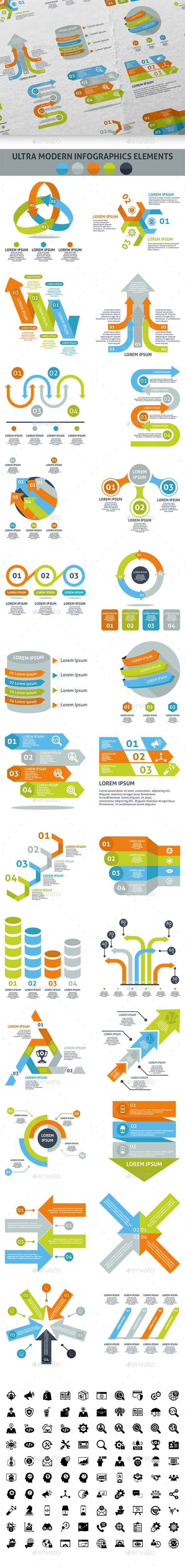 Ultra Modern Infographic Elements Template PSD, Vector EPS, AI Illustrator