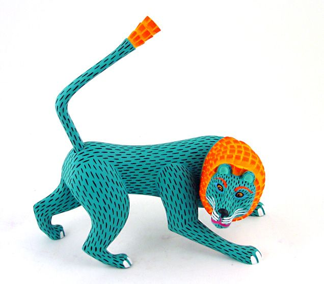 The most often created art in Oaxaca is a figurine connected with Folk. These are called Alebrije's. Oaxacan wood carvings are wooden figurines that are hand carved and painted with acrylic paints. These are created for parties, dances and childrens toys. (http://www.oaxacafinecarvings.com/woodcarvinginoaxaca.htm)