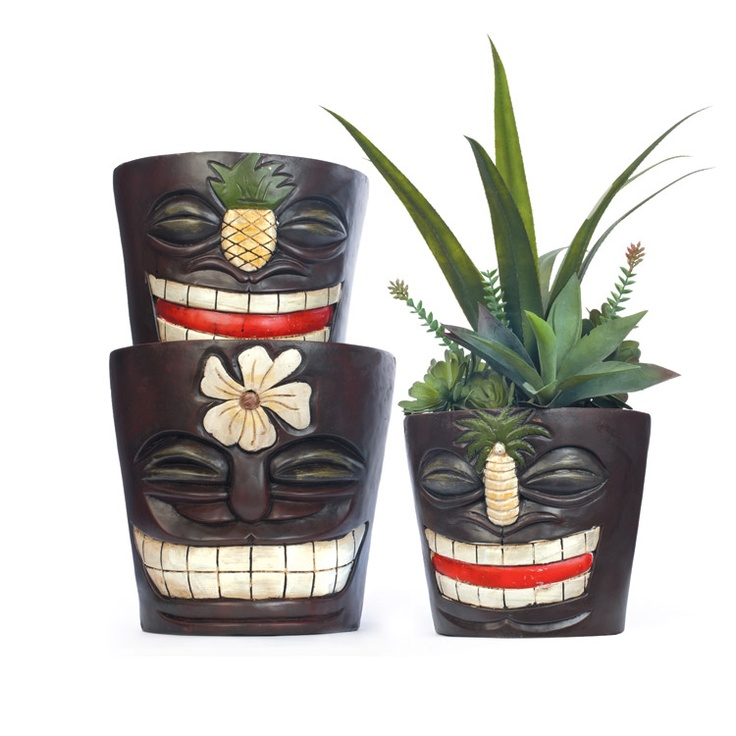 You can't help but smile at these tiki planters! Bring the spirit of the islands to your yard with our great selection of smiling tiki planters.