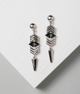 """Chevron Earrings idea with TierraCast 8mm Dome Posts, 3/4"""" Dagger Charms and Faceted Chevron Beads. Design by Katie Hill for TierraCast."""