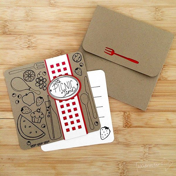 Make your own pretty little illustrated picnic cards with your Cricut Explore - drawings included! Designed by Jen Goode - Learn how on http://www.100directions.com #picnic #papercrafts #cricut