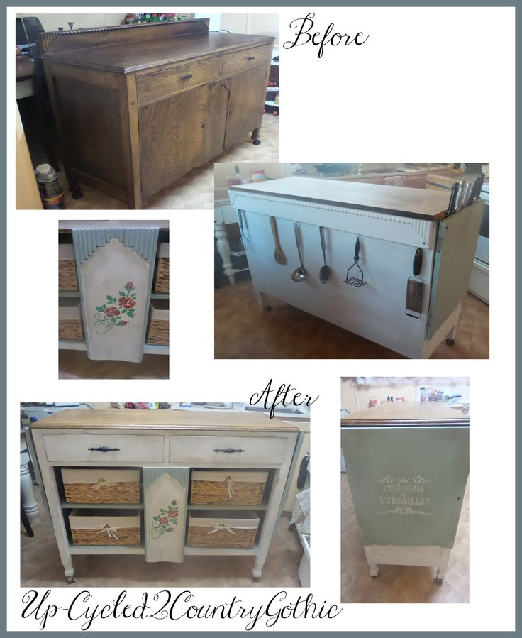 This Sideboard I converted into a Rustic Kitchen Island , love how it turned out :-)  Up-Cycled2CountryGothic