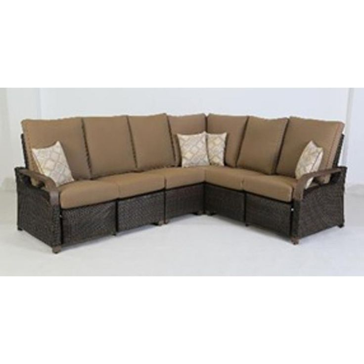 BarcaLounger Palm Grove 4-Piece Aluminum Outdoor Sectional with Sunbrella Shale Cushions