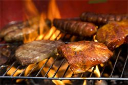 Grilling and Cheeries. A bad news/good news story. The bad news is that barbecued meat increases cancer risk. The good news: you can reduce this risk without becoming a vegetarian.