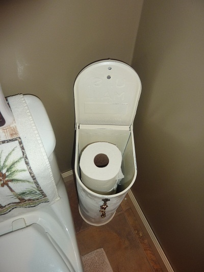 RePurpose a Metal Post-Mount Mailbox to a Toilet Paper 4-Roll Holder -OR- Paper Towel 2-Roll Storage Rack - Bathroom Organizer