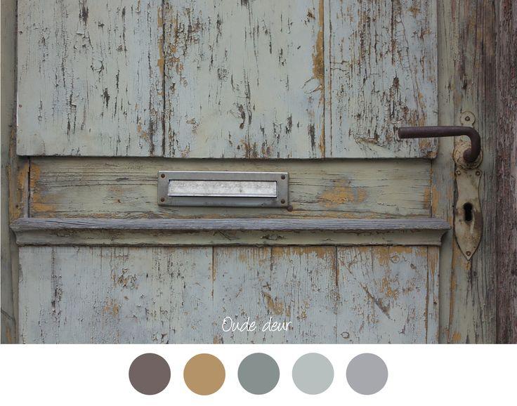Oude deur stoere kleuren voor in het interieur for Bruin grijs interieur