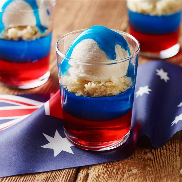 Try this Australia Day Flag Trifles recipe. oh my life this looks yummy. loving that blue syrup poured over the top of the ice cream. perfect Australia Day dessert this 2016