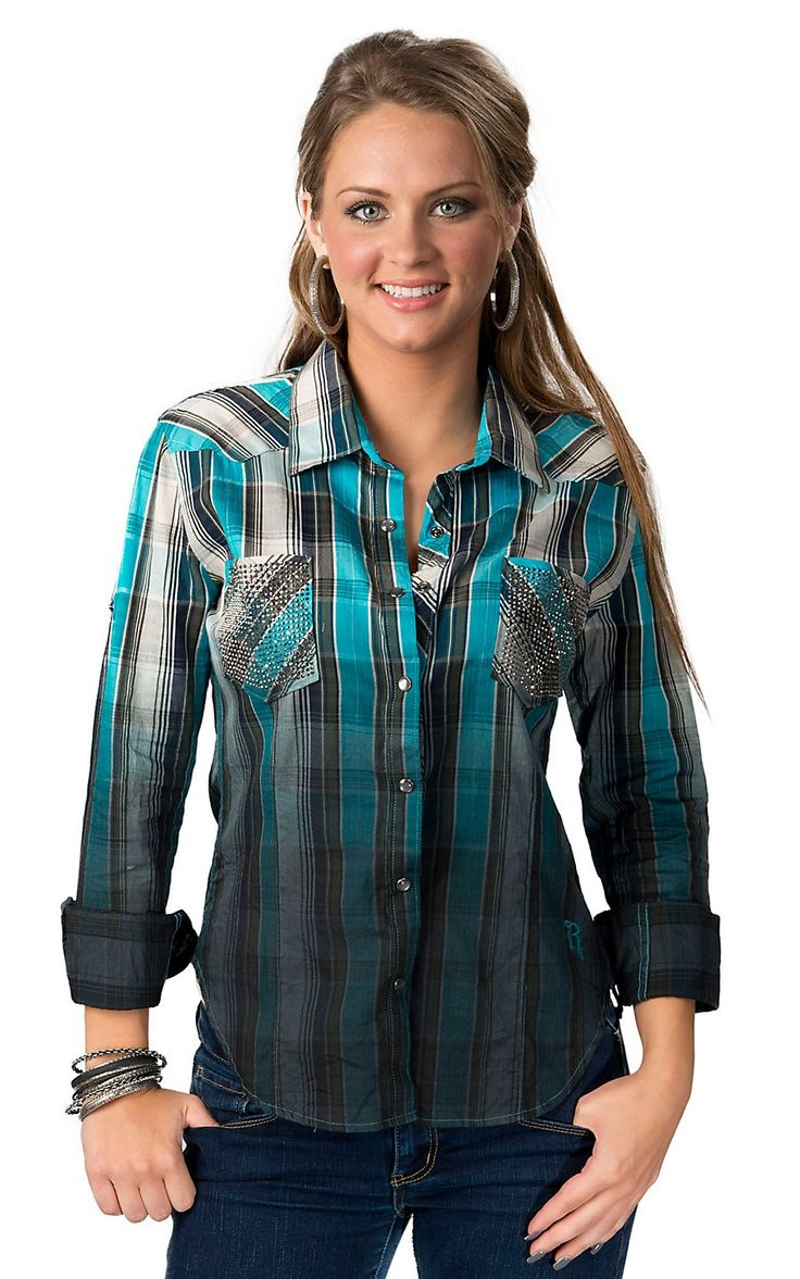 Rock & Roll Cowgirl Women's Blue, Teal, Olive and Ivory Plaid with Rhinestone Pockets Long Sleeve Western Shirt
