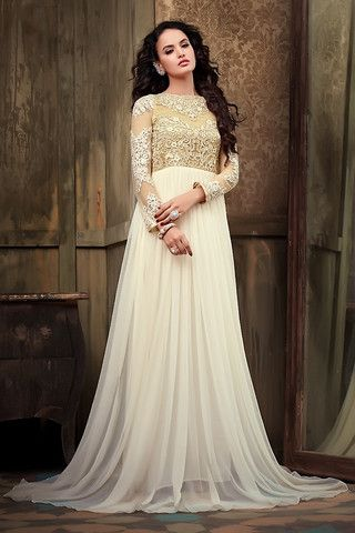 Off White Anarkali Gown with Floral Embroidery