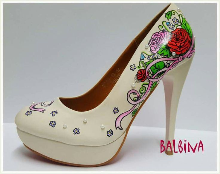 high heels #flowers # roses# hand painted shoes #hand painted shoes #hand painted high heels #balbina #custom shoes #customized shoes