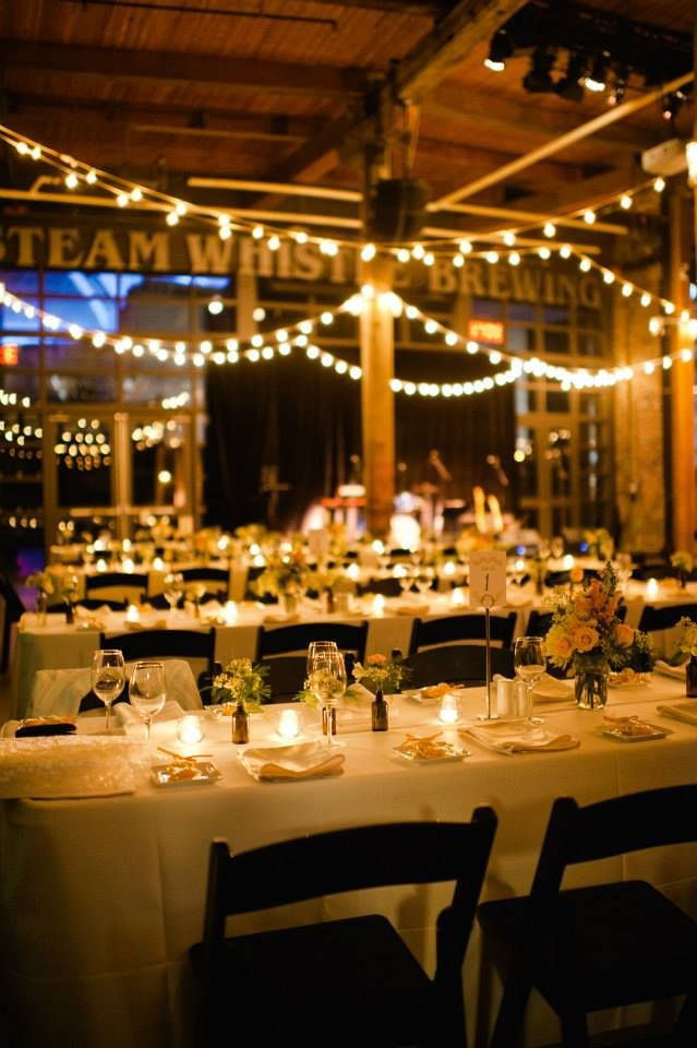 rustic, romantic, globe lights in a reception - Steam Whistle Brewery
