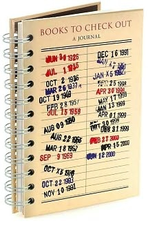 Library-book-inspired journal to track books read, favorite passages, books lent and borrowed. $10.95