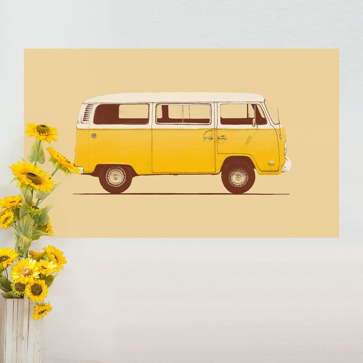 Yellow Volkswagen Bus Wall Sticker Decal – VW Combi T2 by Florent Bodart