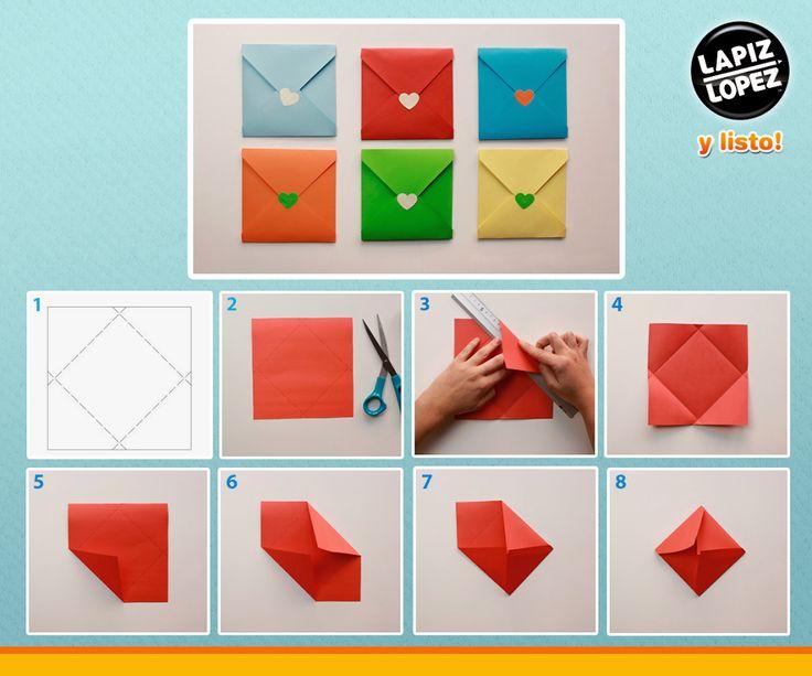 ¡Envía cartas con estilo! Sigue las indicaciones del paso a paso para realizar estos coloridos sobres.