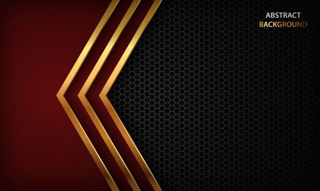 Dark Abstract Background With Red Arrow Overlap Layers Texture With Golden Line And Hexagon Pattern Abstract Backgrounds Luxury Background Red Color Background