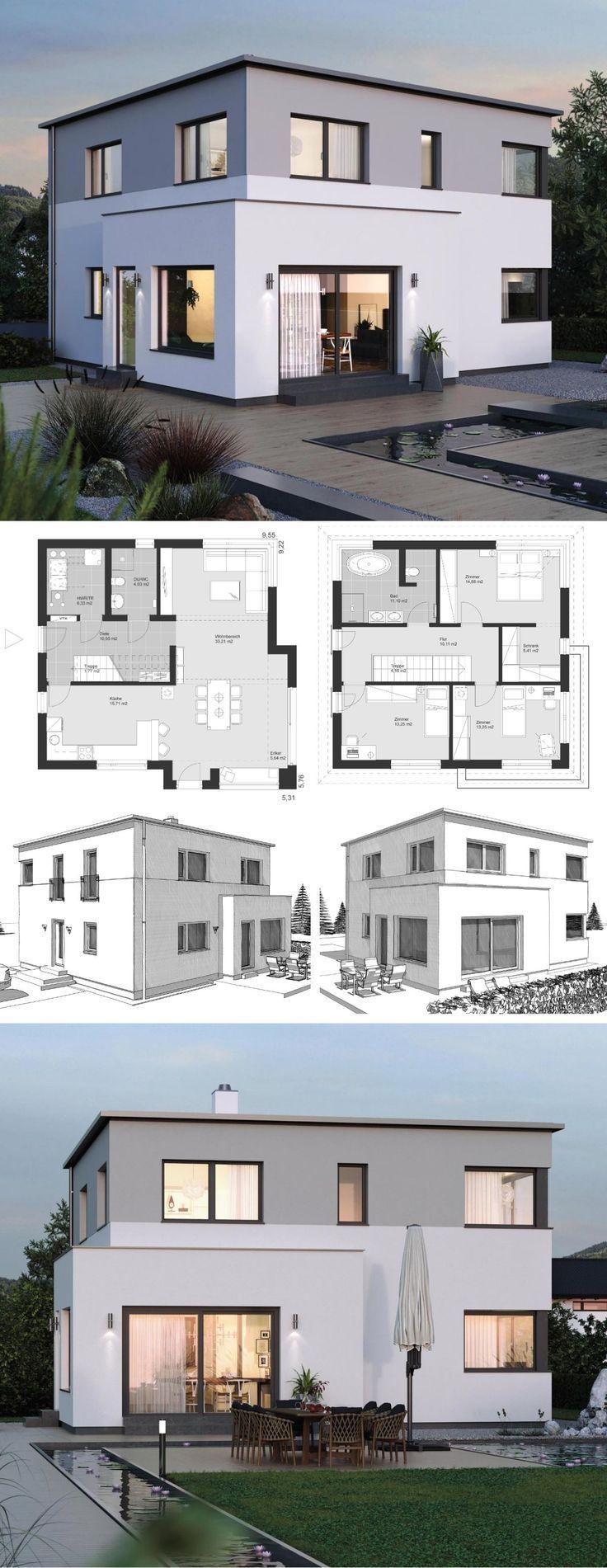 Modernes Einfamilienhaus Neubau Grundriss mit Flachdach Architektur & Erker Anba