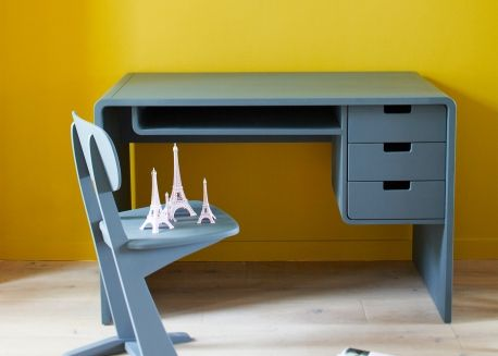 Bureau design contemporain 3 tiroirs 1 casier – 10 coloris au choix – l 65 par laurette