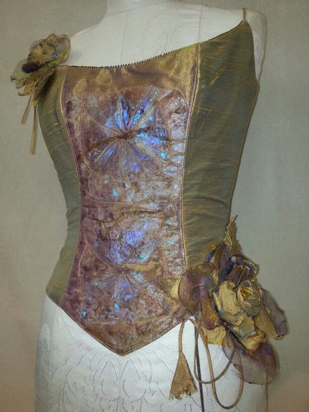 Mystic Rose Corset Raw silk and butterfly wings