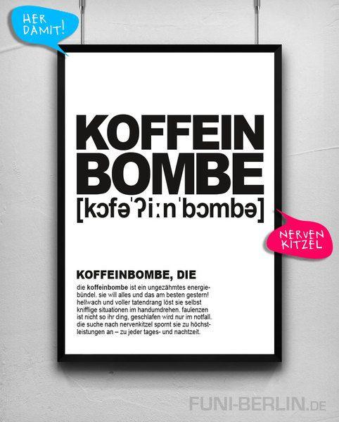 """""""KOFFEINBOMBE, DIE""""   typo poster   size L von FUNI BERLIN auf DaWanda.com"""