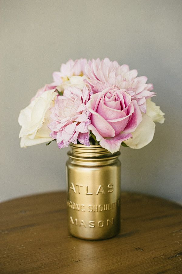 Beautiful pink and gold baby shower floral arrangement