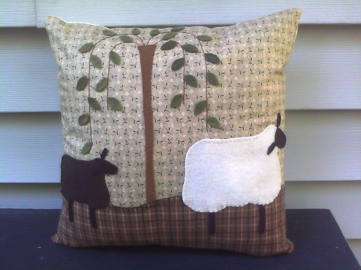 wool applique sheep willow tree pillow