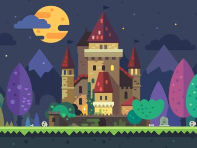 Set of fantastic backgrounds for the game: magic forest with ancient temples, night castle, candy land. Vector flat illustrations. See all the attached file  Follow us on  Behance