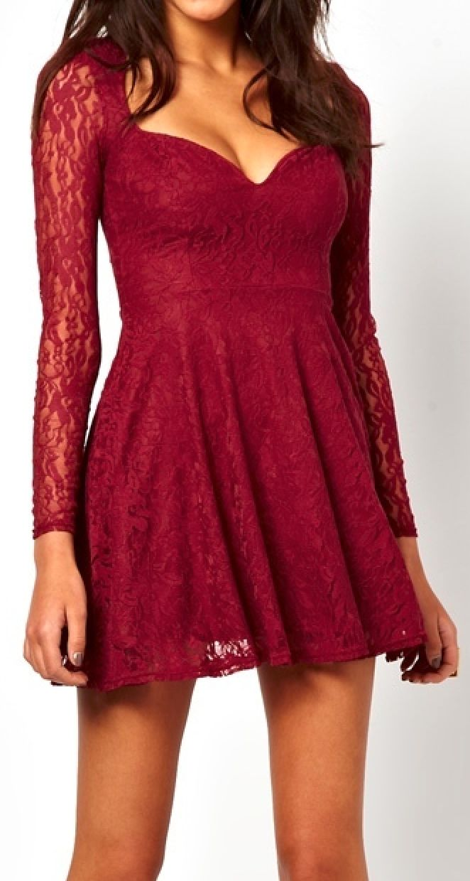lace skater burgundy dresses short kleider maroon rock party cute outfits casual sleeve