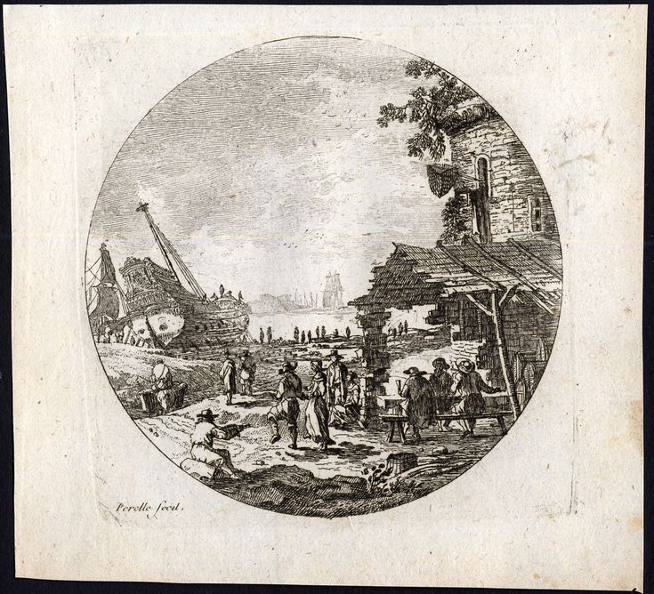 The Prints Collector :: A shipyard. Original engraving by Adam or Nicolas Perelle or their father Gabriel Perelle. It was published by Basan in 1761.
