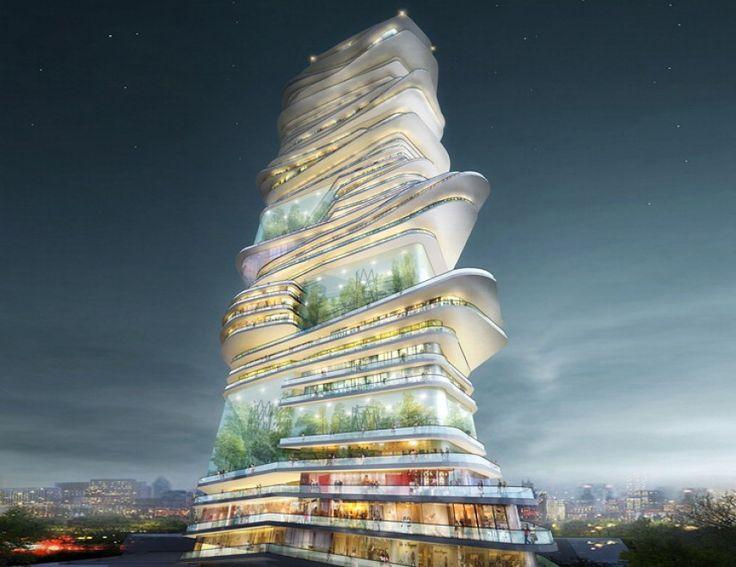La spirale è spesso associata all'infinito e al divenire vorticoso e dinamico. Da questo concetto nasce l'idea dello studio  SURE Architecture Ltd  di creare, a Londra, una città nella città che sia concentrica, autosufficiente e che sembri un normale grattacielo.
