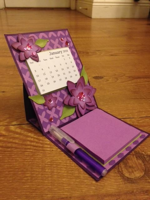 Easel Calendar Card and Post it Note Holder