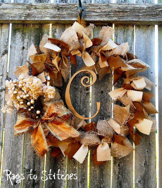 burlap and initial wreath