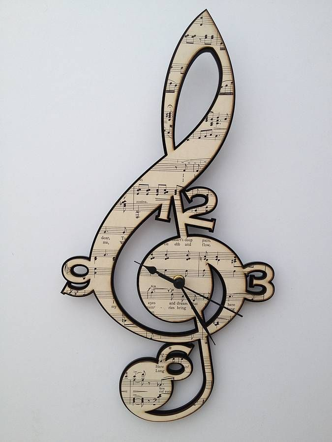 Treble Clef Vintage Music Clock by Neltempo: Genuine vintage music mounted onto birch plywood cut using laser technology.