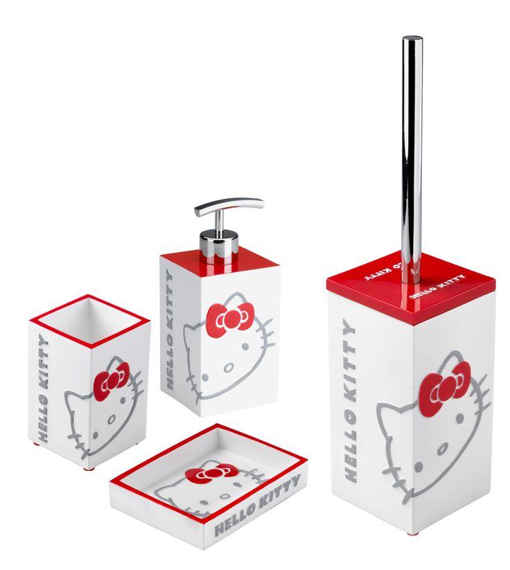 #Accessori #Bagno #Cipì #HelloKitty Square set completo, sono inclusi: Bicchere, Dispenser, Porta sapone e scopino.