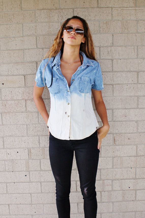 Ombre Bleached Short Sleeve Denim Shirt on Etsy, $15.00