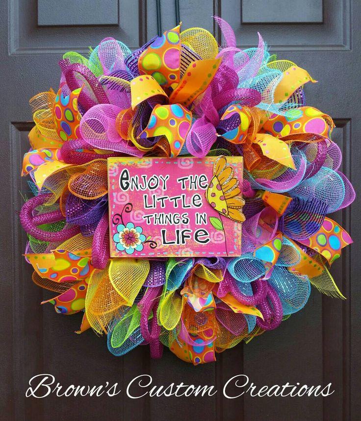 Vibrant Mesh Wreath Fun Wreath Multicolor by BrownsCustomCreation