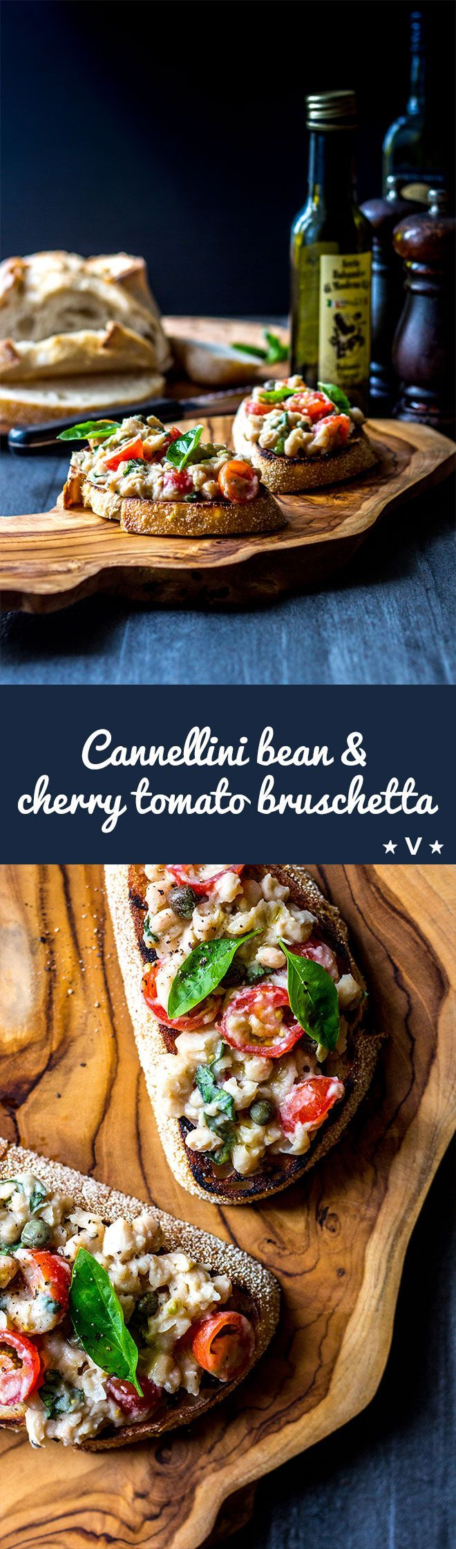 An uncomplicated but delicious vegan bruschetta topping made with cannellini beans, cherry tomatoes, basil and capers. Get it on the table in under 10 minutes, and tick all the nutritional boxes too. via @quitegoodfood