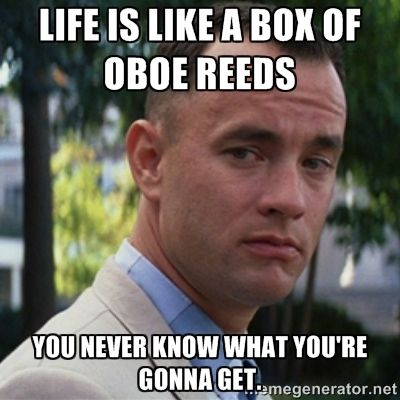 True except I have never seen a box of oboe reeds...Maybe those store-bought reeds you got when you first started playing?